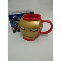Mug 3D Mug Irron Men Gelas Minum Plastik Karakter Super Hero Ireon Men