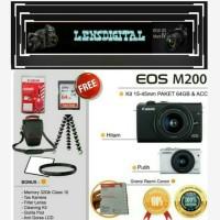 Canon Eos M200 Kit 15-45mm Paket 64GB&Acc-Kamera 4K Video Original