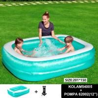Kolam renang anak bestway rectangular family pool 54005+pompa12''