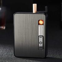 JIJU Kotak Rokok Cigarette Box 10 Slot dengan Korek Gas - YH060