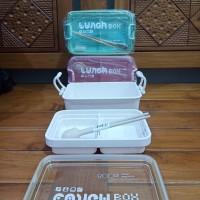 Kotak Makan / Tempat Makan Lunch Box 2 Tingkat Anti Tumpah 800 ml 337