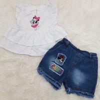 Baju Anak Bayi Perempuan Baju Putih Bayi Setelan Celana Jeans Bayi