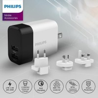 PHILIPS Universal Wall Charger DLP 4320NW with Travel Plugs 3.4A