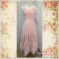 Long dress pesta party pink payet bordir embroidery u can see import