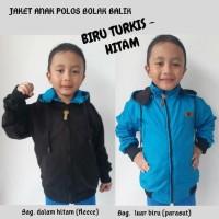 Jaket Anak Laki-laki Polos Parasut Bolak Balik Biru Turkis Hitam