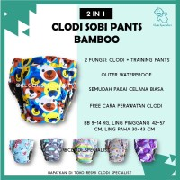 ORIGINAL Clodi Sobi Pants Bamboo 2 In 1/ Popok Kain Cuci Ulang