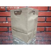 Paperbag Tali kur/Shopping Bag/Tas Kertas Polos - 18x12x22