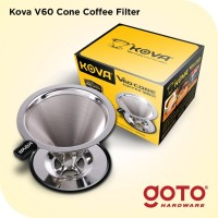 Kova Dripper V60 Stainless Steel Coffee Cone Double Mesh Saringan Kopi