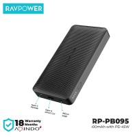 RAVPower Powerbank 20100mAh with PD45W+QC3.0 -Black -[RP-PB095]