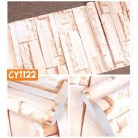 Home Wallpaper Sticker Dinding Batu Alam Coklat - 45cm x 10 m