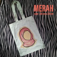 Tote Bag Blacu Cat Acrylic Painting Muslimah