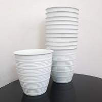 Produsen Pot Bunga Plastik Guci 201 JET, Pot Guci Putih, Pot Pirus D20