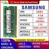New RAM LAPTOP SAMSUNG DDR3 4GB 12800 1600MHz ORI RAM SODIMM 1.5v 4GB