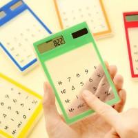 Kalkulator Layar Sentuh LCD Ultra Tipis Tenaga Surya Transparan 8