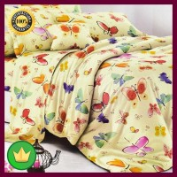 Set Seprai & Bed Cover Anak Air Butterfly 180x200+30 Cm 6 Pcs - Krem