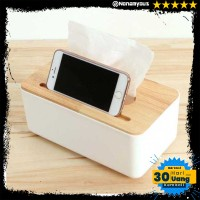 Kotak Tisu Kayu dengan Smartphone Holder Mobile Tissue Box