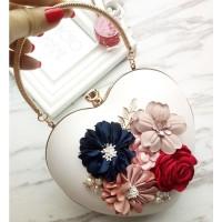 READY STOK JT0062-white Tas Pesta LOVE Aksen Bunga Cantik Elegan