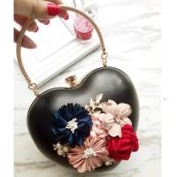 READY STOK JT0062-black Tas Pesta LOVE Aksen Bunga Cantik Elegan