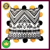 Sarung Bantal Sofa Pom 45x45 Cm - Hitam Kuning