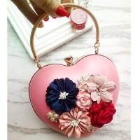 READY STOK JT0062-pink Tas Pesta LOVE Aksen Bunga Cantik Elegan