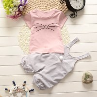 2 Pcs Cute Baby Girls Summer Outfits Set Cotton Overall Pants Short