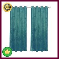 Set Gorden Velvet Foil 135x250 Cm - Biru