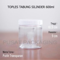Toples Jar 600ml Plastik PET Silinder Tabung Serbaguna 600 ml / 0.6 L