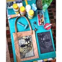 Tas Tote Bag Canvas Kanvas Tali Handle Kulit - Linoprint Handmade