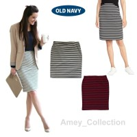 ROK PENDEK KERJA WANITA MIDI / PENCIL STRIPPED SKIRT OLD NAVY