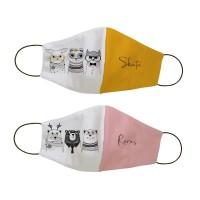 Masker kain non medis custom nama - Black white