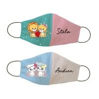 Masker kain non medis custom nama - Lion Cat