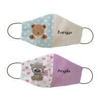 Masker kain non medis custom nama - Bears