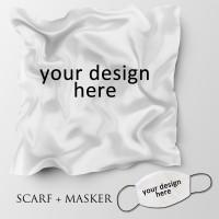 Jilbab motif dan masker headloop ukuran 90x90 cm - custom scaft mask