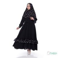 Setelan Muslim | Mikaila Syari Black - Mustard| Gamis Khimar Monalisa
