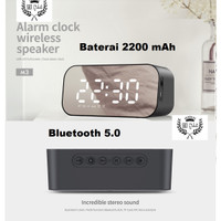 Jam meja Digital LCD MEWAH MIRROR SCREEN SPEAKER BLUETOOTH RADIO SB M3