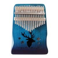 Kalimba 17 Keys Motif Rusa Thumb Piano Jari Mbira Akustik K17S Biru