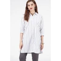 Kemeja Lengan Panjang / Meiry Navy White Shirt 24439T5NW - Bodytalk