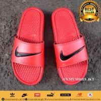 Sandal Slop Pria Wanita-Karet-Merah Hitam