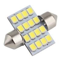 Lampu Plafon Interior Mobil LED Super White 31mm 16 Led isi 2pcs