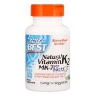 Doctor's Best, Natural Vitamin K2 MK-7 with MenaQ7, 45 mcg, 60 Veggie