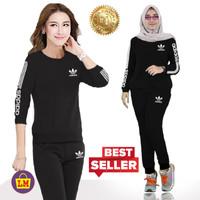Setelan Baju Olahraga Senam Traninig Wanita New Adidas XXXL LMS 07764 - Hitam