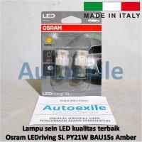 Osram LED riving SL PY21W BAU15s Amber Jingga 7459YE Italy Lampu Sein