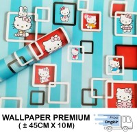 Wallpaper Stiker Dinding 45cm X 10M - HELLO KITTY KOTAK SALUR BIRU