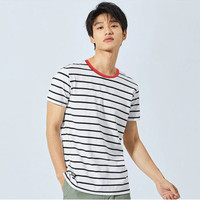 Okechuku TOMAS Baju Kaos Pria Oblong Model Korea Lengan Pendek Salur