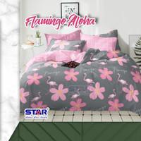 CINITA sprei set bahan Katun STAR Motif Flamingo Aloha (tanpa bedcover