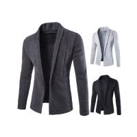 Cardigan Sweater Lengan Panjang V-Neck Rajut Warna Polos untuk Pria