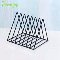 !!!Nordic triangle simple wrought iron desktop shelf file magazine