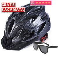 Helm Sepeda EPS Foam PVC Shell Hitam Gratis Kacamata