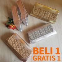 Buy 1 Get 1 Dompet Pesta Gold Tas Clutch Cantik Elegan Import
