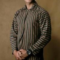 Baju Surjan Setelan Dewasa / Jumbo / Lurik / Batik Adat Jawa - Cokelat